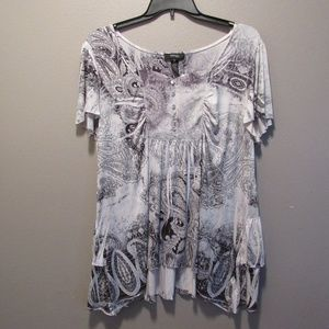 Style & Co Sequined Asymmetrical Ruffle Tunic 3X